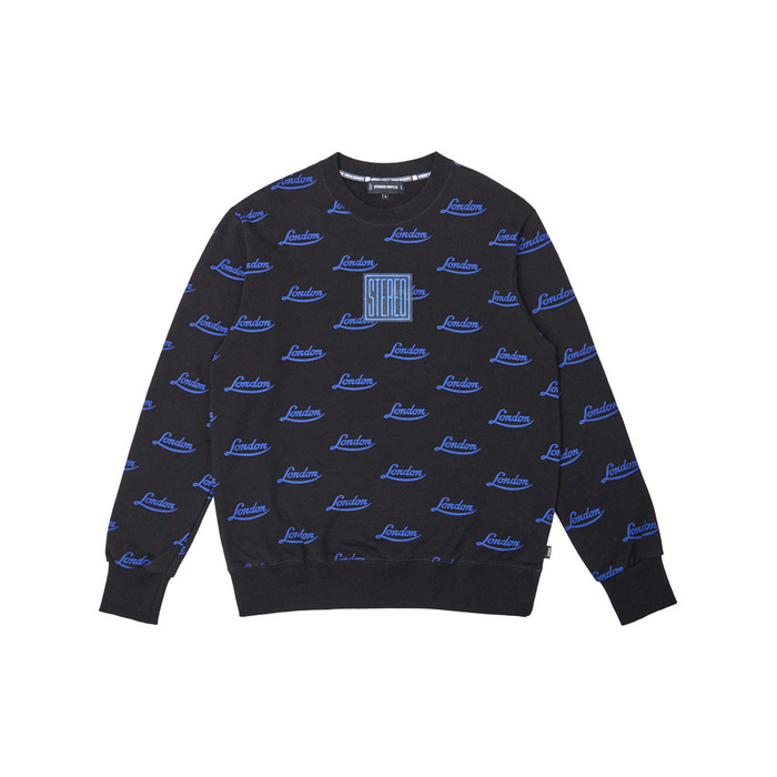 [PSLN] London Pattern Sweatshirt (Black) 스테레오 바이널즈