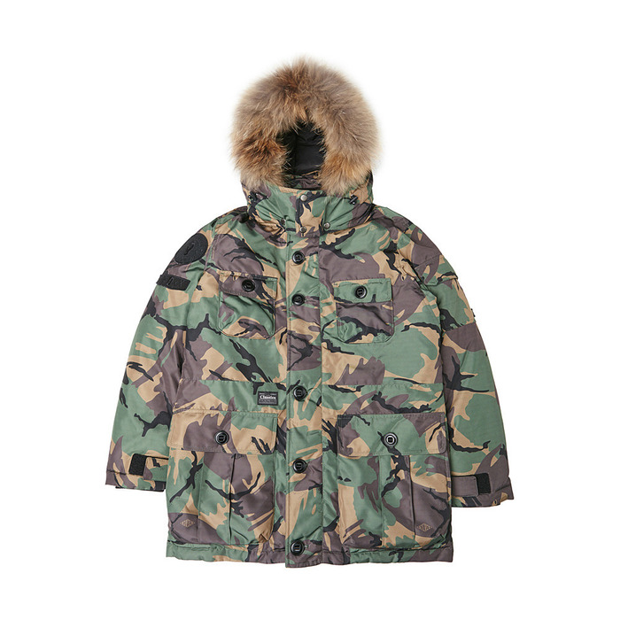 [PSLN] Explorer Parka Down Jacket (Camo) 스테레오 바이널즈