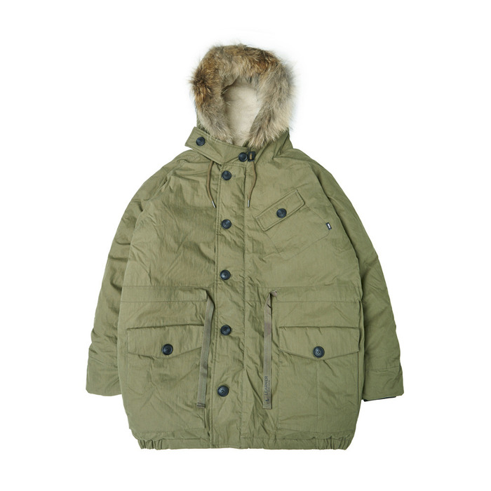 [PSLN] Polar Parka Down Jacket (Khaki) 스테레오 바이널즈