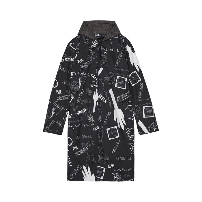 [AG] Scribbling Long Jacket(BLACK) 스테레오 바이널즈