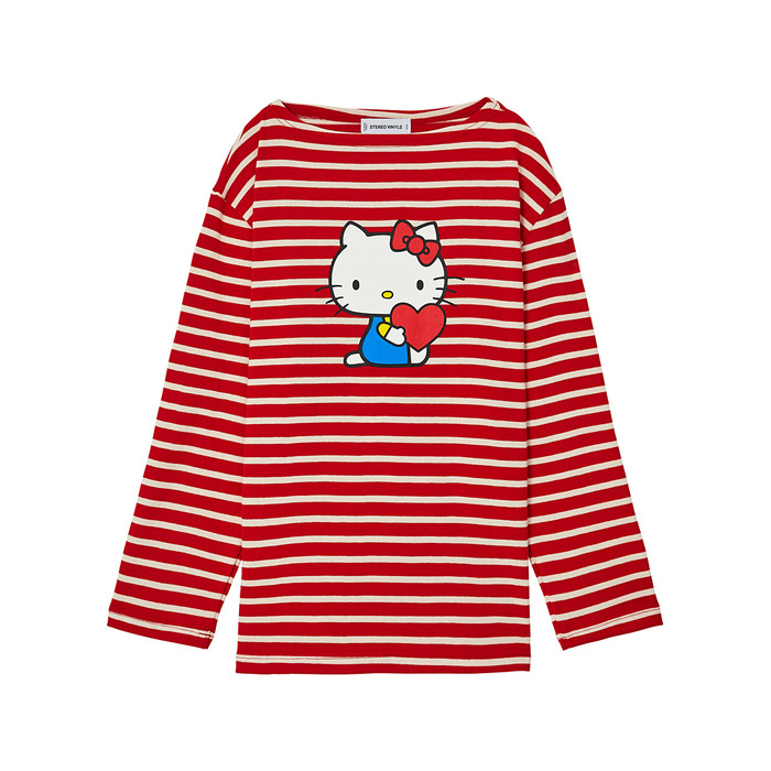 [Hello Kitty] Stripe Long Sleeve(Red) 스테레오 바이널즈