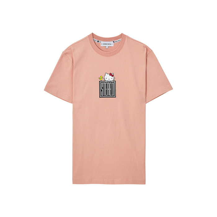 [Hello Kitty] Square Logo S/S T-shirts(Pink) 스테레오 바이널즈