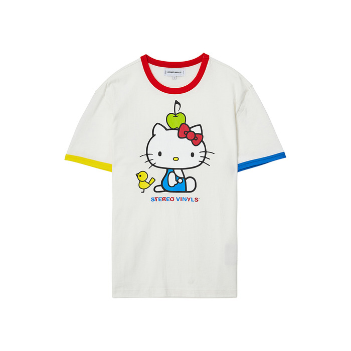 [Hello Kitty] Color Block S/S T-shirts(White) 스테레오 바이널즈