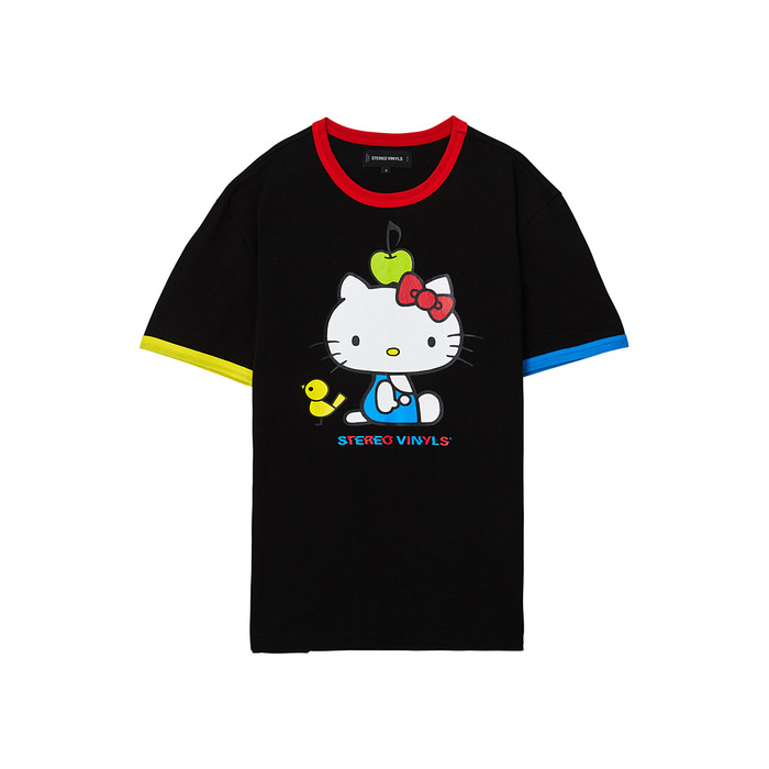 [Hello Kitty] Color Block S/S T-shirts(Black) 스테레오 바이널즈