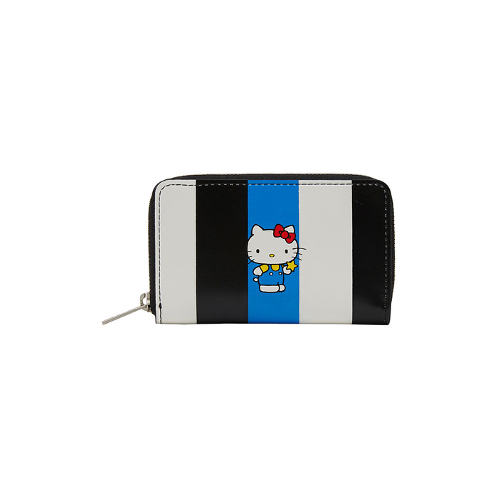 [Hello Kitty] Stripe Cowhide Leather Wallet(Black) 스테레오 바이널즈