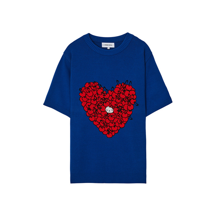 [Hello Kitty] Heart S/S Knit(Blue) 스테레오 바이널즈