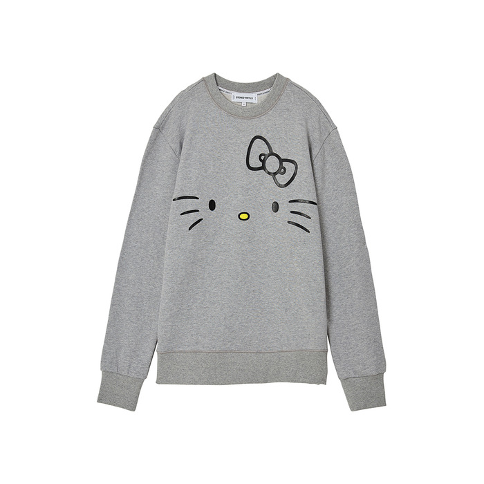[Hello Kitty] Kitty Face Sweatshirt(Melange Grey) 스테레오 바이널즈