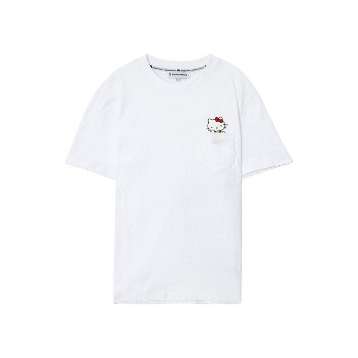[Hello Kitty] Kitty Pocket S/S T-shirts(White) 스테레오 바이널즈