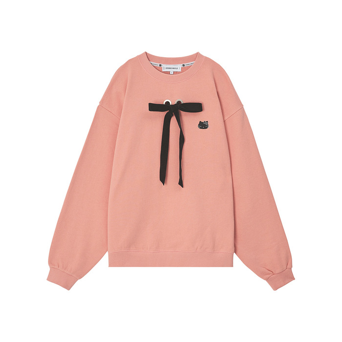[Hello Kitty] Ribbon Sweatshirt (Pink) 스테레오 바이널즈