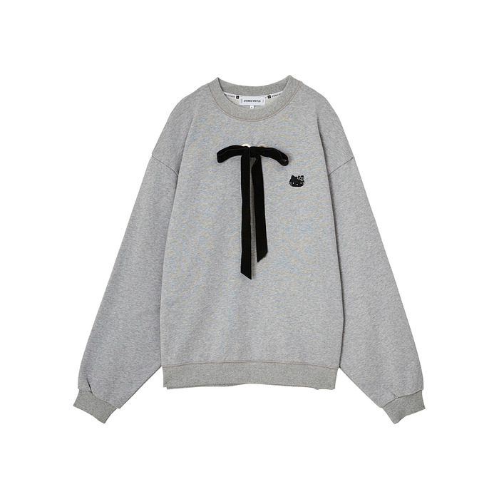 [Hello Kitty] Ribbon Sweatshirt (Melange Grey) 스테레오 바이널즈