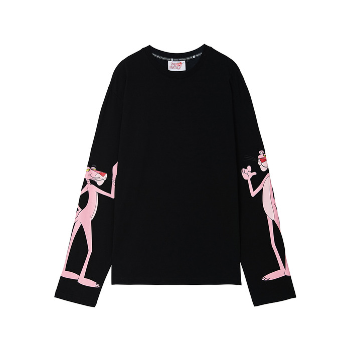 [Pink Panther] Sleeve Print Long Sleeve(Black) 스테레오 바이널즈