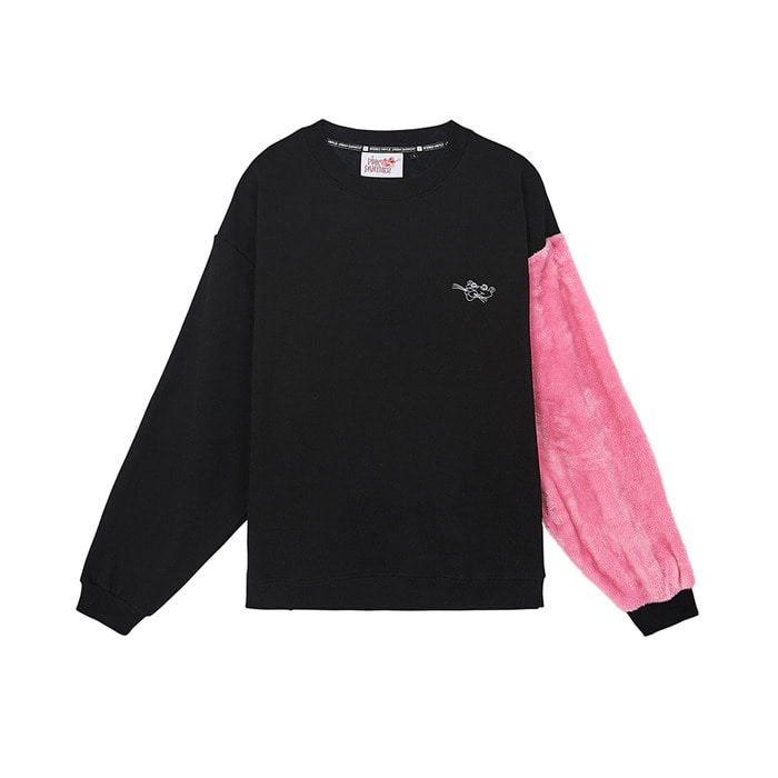 [AW17 Pink Panther] Faux Fur Sleeve Sweatshirts(Black) 스테레오 바이널즈