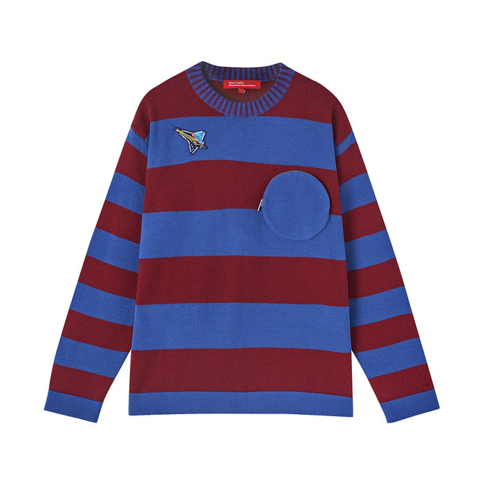[AW17 ISA] Stripe Knit(Burgundy) 스테레오 바이널즈