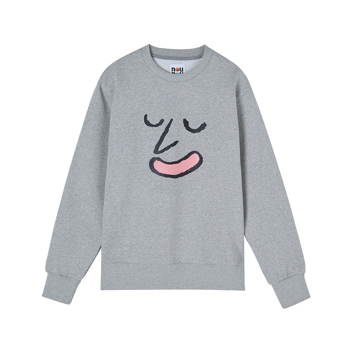 [AW17 NOUNOU] Face Fleece Sweatshirts(Grey) 스테레오 바이널즈