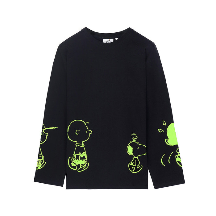 [SS18 Peanuts] Friends Long Sleeve(Black) 스테레오 바이널즈