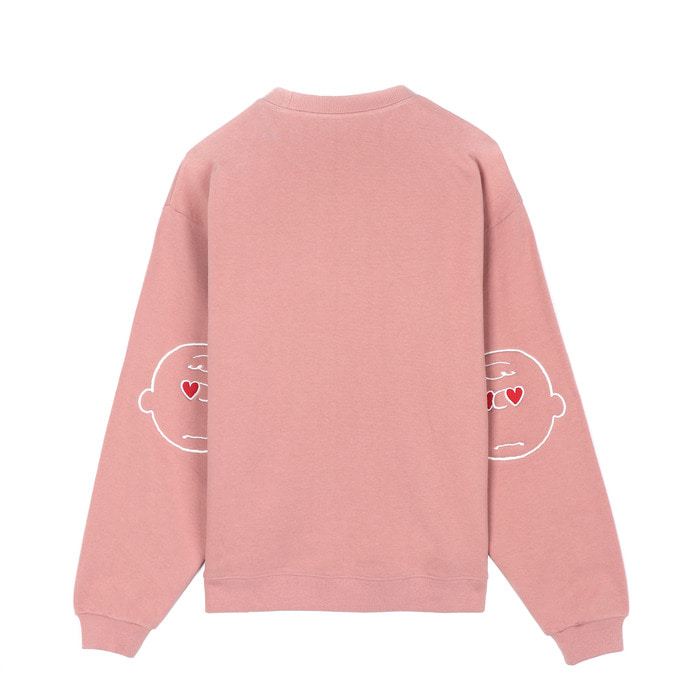 [SS18 Peanuts] Elbow Patch Sweatshirts(Pink) 스테레오 바이널즈