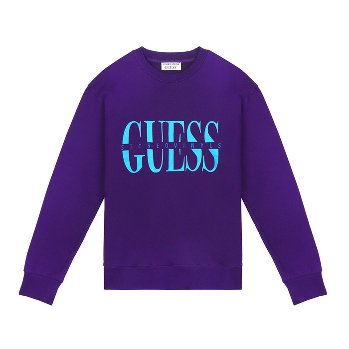 [18FW STEREO X GUESS] Logo Sweatshirts(Purple) 스테레오 바이널즈