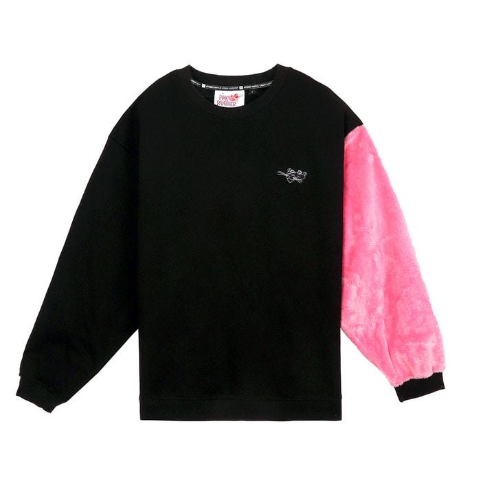 [FW18 Pink Panther] Fur Sleeve Sweatshirts(Black) 스테레오 바이널즈