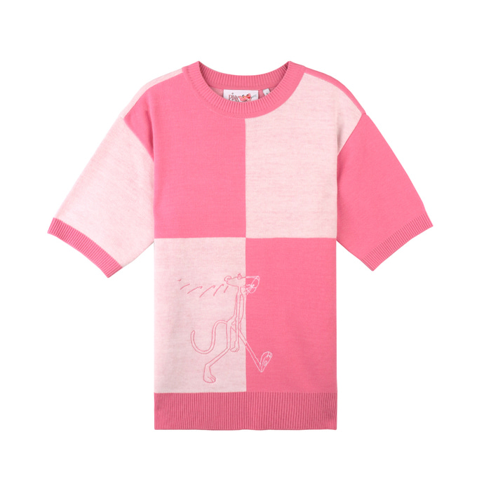 [SS19 Pink Panther] PP Walking S/S Knit(Pink) 스테레오 바이널즈