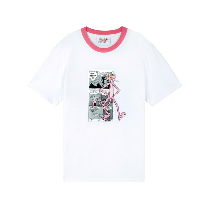 [SS19 Pink Panther] PP Neck Point T-Shirts(White) 스테레오 바이널즈