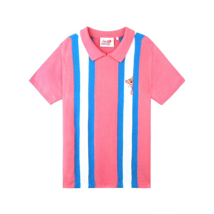[SS19 Pink Panther] Stripe Collar S/S Knit(Pink) 스테레오 바이널즈